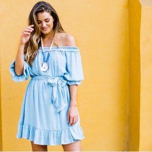 Blue off the shoulder 3/4 length mini dress